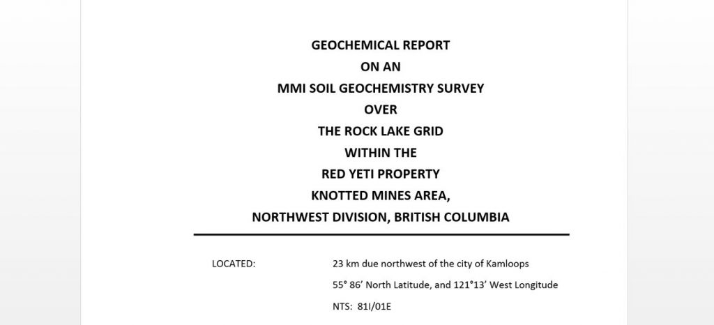Report for gold and silver surveying in British Columbia using ground penetrating radar and VLF-EM